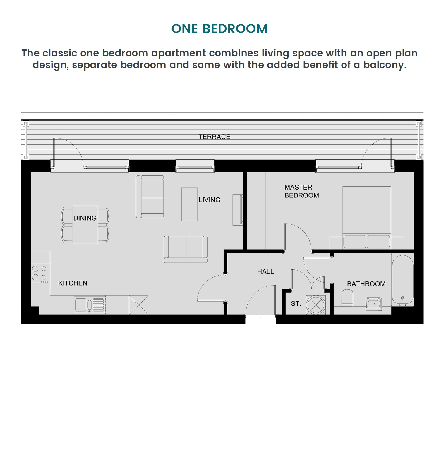 One Bedroom Apartment, Park Place, Stevenage